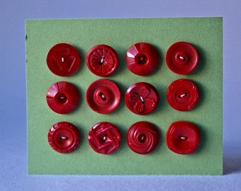 Vintage Red Round Buttons in Assorted Designs for Sewing and Crafts.