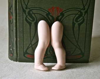 Porcelain Bisque Doll Legs with Ribbed Socks and Mary Jane Shoes for Doll Making and Repair