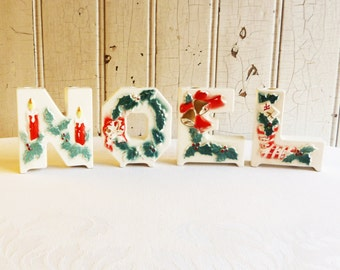 NOEL Candle Holder Set - Lipper and Mann - White NOEL Letters - Vintage Christmas Decoration -  Mid-Century 1950s