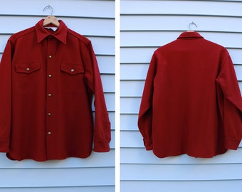 Vintage Vtg Vg 1970's 70's WOOLRICH Maroon Heavy Wool Snap Button Up Jacket Thick Button Down Rustic Winter Men's Size Large USA Holidays