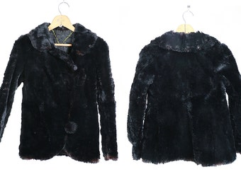 Vintage VTG VG 1940's 40's 1930's 30's High Fashion Black Sheared Beaver Fur Coat Women's Size Extra Small Elegant Holidays Winter Warmth