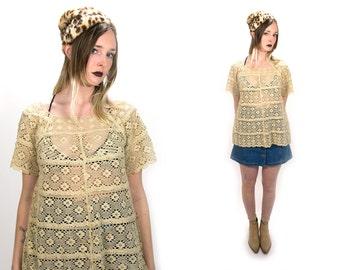 Vintage 1970's 70's Cream Lace Crochet Top Short Sleeved Flouncy Blouse Women's Hippie Bohemian Boho Summer/Spring Top Size Medium Large