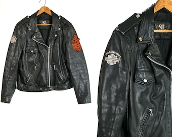 Vintage 1970's Street Legal Distressed Black Leather Motorcycle Jacket with Harley Davidson Milwaukee Patches Men's Size 46 Vtg Easy Rider