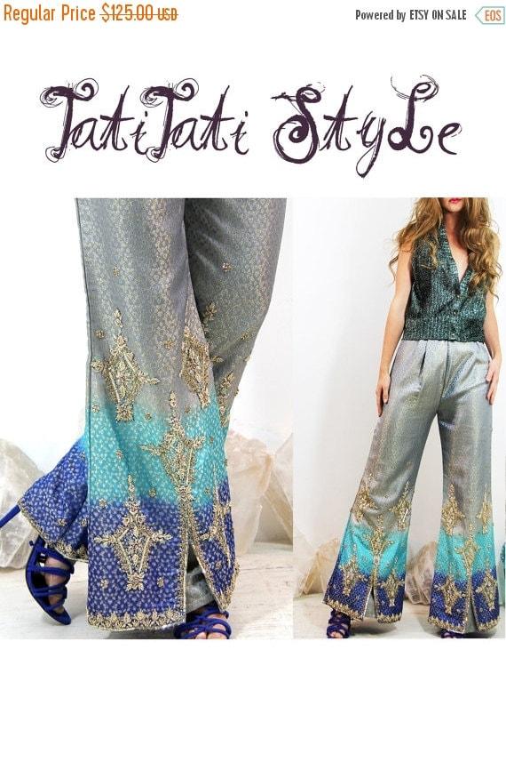 SALE PANTS 60's Vintage Gypsy GODDESS Bohemian Bejeweled Bell Pants Embellished // Vintage Pants by TatiTati Style on Etsy