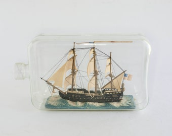Vintage PLASTIC Ship in a Bottle Nautical Display Collectible Model Kitsch