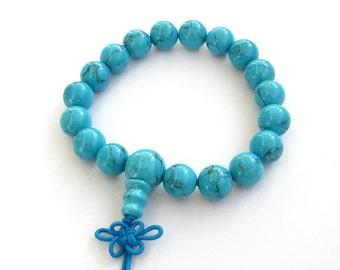 10mm Blue Beads Tibetan Buddhist Prayer Wrist Mala Bracelet For Meditation  T0639