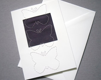 Purple Butterfly Card, Stitched Greetings Card