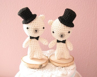 Gay Wedding Cake Topper, Teddy Bear Cake Topper, LGBT cake topper, Same Sex Cake Topper, Groom and Groom,