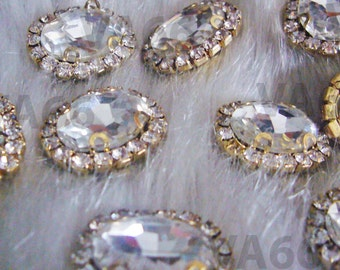 Oval Sew On Rhinestones Crystal Clear 15mm x 19mm DIY 4 hole Gold Montee Faceted 8pc Button Rhinestone Beads sewing  jewelry Findings craft
