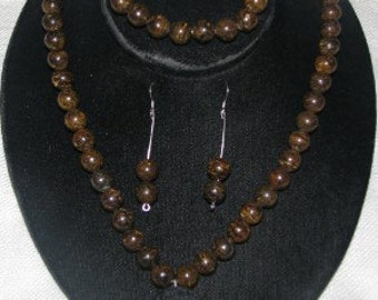 Bronzite Necklace, Bracelet and Earring Set
