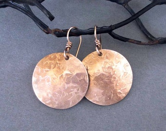 Hammered Bronze Disc Earrings Round Dangle Earrings Metalsmith Jewelry Handmade Modern 8th Bronze Anniversary Jewelry