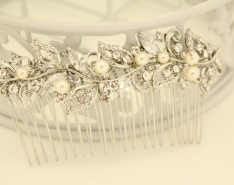 Wedding hair comb pearl,Vintage inspired Bridal hair comb Rhinestone,Wedding hair piece,Bridal hair jewelry,Wedding comb pearl,Bridal comb