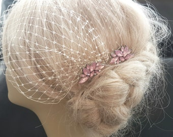 Birdcage Veil and a 2 Pink  Hair Combs - ( 3 Items ) - Bridal Headpiece, Rhinestone Bridal Comb,Headpieces,  Weddings,Blusher Bird Cage Veil