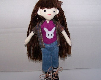 Handsewn doll, felt doll, cloth doll, fabric doll, handmade doll, poseable doll, decorative doll, kawaii, doll bunny shirt - Clearance