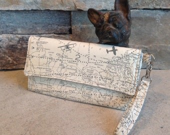 Map and travel inspired print trifold wallet