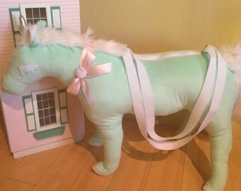 GIANT Unicorn Bag travel-sized — Mint w/silver horn and white mane