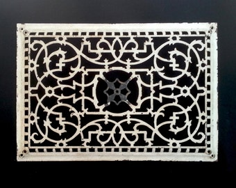 "Extra Large 23"" x 16"" Victorian Cast Iron Metal Heating Duct Grate Vent Cover Rectangle with Original Off White Paint"