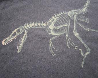 Velociraptor Fossil Dinosaur Skeleton T-Shirt - Bleach Painted - Custom - Made to Order - Paleontologist Gift - Jurassic Park Tshirt