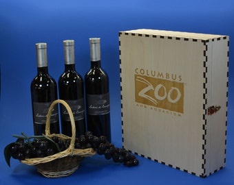 Elegant 3 Bottle Wood Wine Box Personalized by You