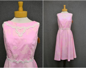 1960s M/L Miami Pink Print Dress