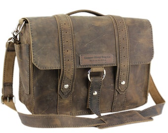 "14"" Distressed Tan Rockport Voyager Leather Briefcase - Made in America"