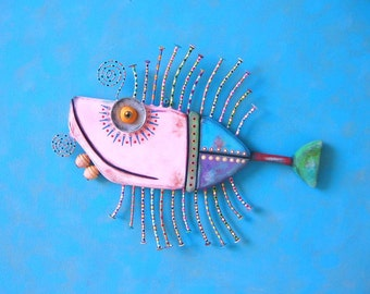 Pale Pink Tuna, Original Found Object Wall Sculpture, Wood Carving, Wall Decor, by Fig Jam Studio