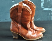 Brown Lined Cowboy Boots - Leather and Suede; Size 8