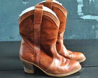 Brown Lined Cowboy Boots - Leather and Suede; Size 7?