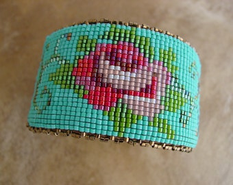 Loomed Rose Bracelet