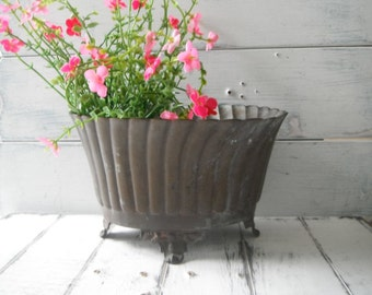 brass planter aged patina petite planter cottage chic footed planter aged brass plant holder plant pot indoor gardening Sarna Bros SB106