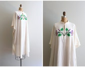 vintage 70s hand painted kaftan - ivory muslin dress / vintage 1970s kaftan - festival caftan / boho dress- summer hippie dress