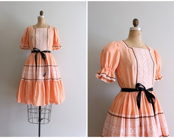 vintage apricot patio dress - summer picnic dress / pastel peach dress - 60s rockabilly dress / Sweet Kawaii - full swing skirt dress
