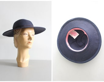 vintage 50s navy blue woven wide brim hat - 1950s summer hat / Bellini Originals - designer straw hat / vintage wedding - 50s blue straw hat