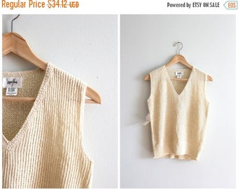 SALE / vintage cream rib knit sweater vest - new old stock crochet sweater vest / Laura Yang - oatmeal hand loomed ribbed knit / 80s sweater