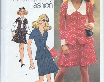 Vintage 1970s Simplicity 9890 2-Pc Dress Jacket And Skirt Sewing Pattern Size 10 Bust 32.5