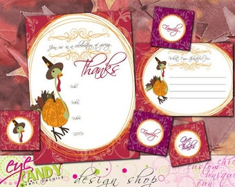 THANKSGIVING collection - Giving Thanks - Thanksgiving Invitation - thanksgiving placecard - give thanks card