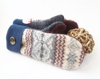 Felted Sweater Mittens BLUE Nordic / Fair Isle with Burgundy Oxblood and Gray Wool Mittens Fleece Lined Eco Gift Under 50 by WormeWoole