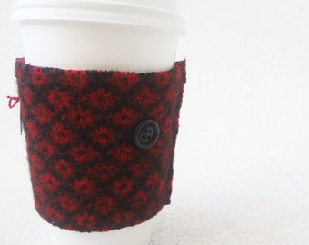 Coffee Cozy RED & BLACK Fair Isle Felted Sweater Wool Coffee Cosy / Coffee Sleeve / Coffee Sweater by WormeWoole