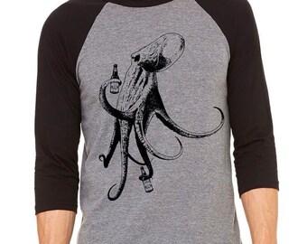 Octopus Shirt, Craft Beer Shirt, Funny Beer Shirt, Homebrewer Shirt, Beer Geek, Baseball Tee, Perfect for Beer Festival, Birthday
