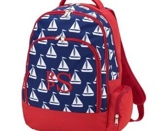 Sailboat Backpack- Sail Away- Nautical Backpack- Boys Backpack- Kids Backpack- Monogrammed Backpack- Back to School- Embroidered Backpack