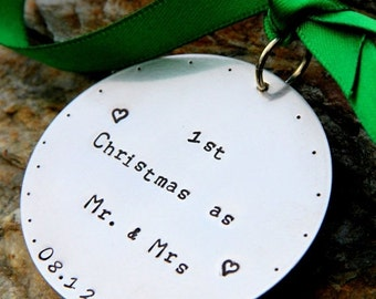 SALE Personalized hand stamped Christmas Ornament First Christmas As Mr. and Mrs. husband and Wife Family Wedding New Marriage Son in Law