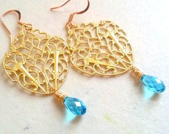 Gold Chandelier Earrings - Gold Hoop Earrings - Chandelier Gold Earrings -  Bridal Earrings Chandelier -  Gold Earrings -Black Tie Earring