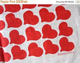 25%SALE Reinleinen. MWT Polish Reinleinen linen kitchen towels / hearts red / unused / single or multiple