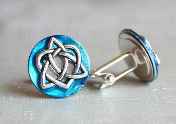 sky blue celtic knot cufflinks, triquetra cufflinks, anniversary gift, celtic cufflinks, irish jewelry, mens jewelry, mens gift
