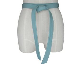 Leather belt women - Blue Lambskin - Basic Leather Tie Belt - Coat Belt - Minimalist belt - Classic belts - Pale blue leather belt custom