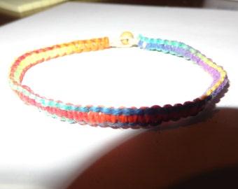 Rainbow Hemp bracelet 6.75 inches NEW