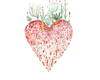 Heart painting, Watercolour painting, Heart illustration, Heart print, A4 print, 8 11 inch, Nature print, gift under 20, Love print