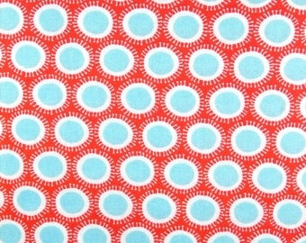 Aqua and Red Dots,  Modern Polka Dots 100% cotton fabric for Quilting and general sewing projects.