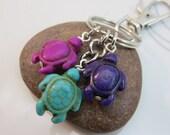 Turtle Keychain tortoise Keyring howlite turtle beads purple magenta turquoise turtle swivel clasp