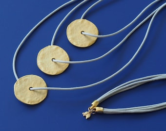 Minimalist Layering Necklace with Gold Dics and Gold Lucky Elephant Charm